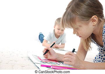 geitjes, tekening, lezende