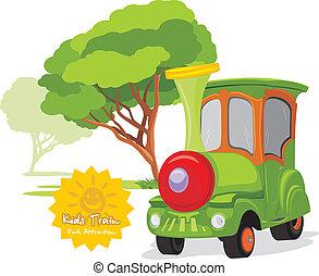 geitjes, trein, in, vermakelijkheid park