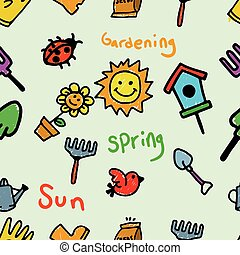 geitjes, tuinieren, doodle, seamless, thema, model