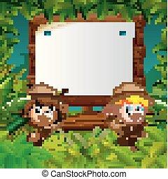 geitjes, twee, hout, avontuur, achtergrond, leeg, jungle
