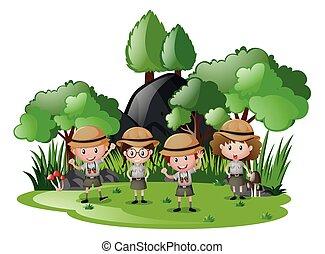 geitjes, uitrusting, vier, bos, safari, plezier, hebben