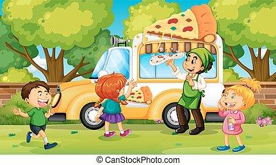 geitjes, vrachtwagen, aankoop, pizza