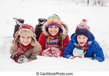 geitjes, winter, sneeuw, samen, drie, dons, het liggen