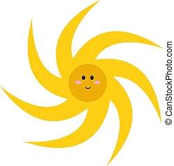gek, illustratie, achtergrond., vector, zon, witte