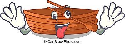 gek, macot, houten, naast, strand, scheepje