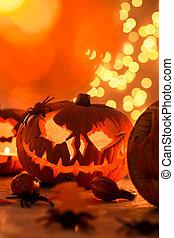 gekerfde, halloween, pompoen