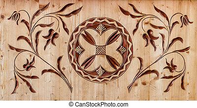 gekerfde, houten, model
