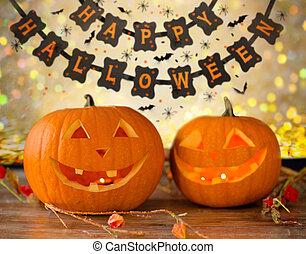 gekerfde pompoenen, en, vrolijke , halloween, guirlande