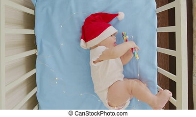 gekke , 2021, sofa., jongen, baby, zuigeling, kerstman, year...
