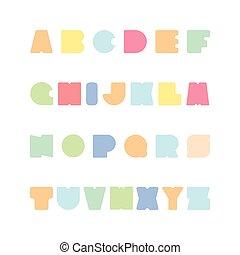 gekke , alphabet., kleurrijke, versuikeren, letters., helder, font., engelse