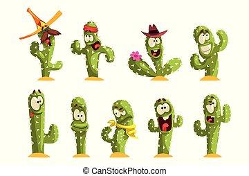 gekke , anders, cactussen, karakters, emoties, vector, sett, achtergrond, illustraties, witte , cactus