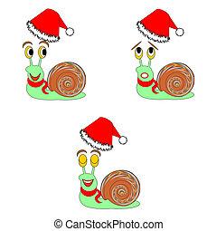gekke , anders, gelaatsuitdrukkingen, snails, kerstmis