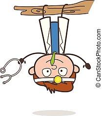 gekke , arts, illustratie, dons, vector, voordeel, hangend, spotprent