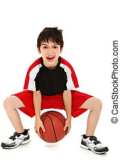 gekke , basketbal, jongen, speler, goofy, kind