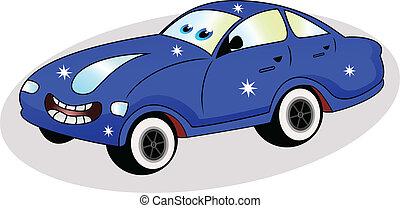 gekke , blauwe auto