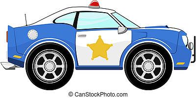 gekke , blauwe , politiewagen, spotprent