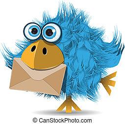 gekke , blauwe vogel, met, enveloppe