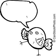 gekke , blauwe vogel, spotprent