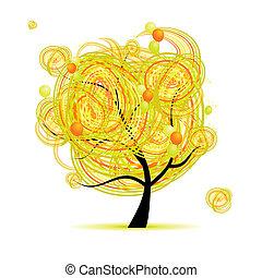 gekke , boompje, gele, ontwerp, ballons, jouw