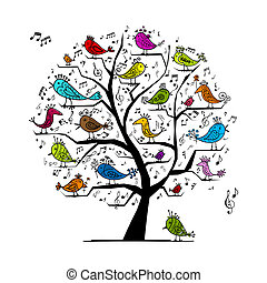 gekke , boompje, met, het zingen, vogels, voor, jouw, ontwerp