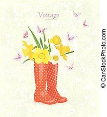 gekke , bouquetten, groet, laarzen, rubber, daffodils, kaart