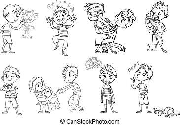 gekke , character., illustratie, behavior., slecht, vector,...