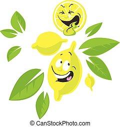 gekke , citroen, karakter, -, illustratie, gezicht, vector, spotprent