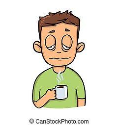 gekke , coffee., kop, slaperig, vrijstaand, plat, morgen, achtergrond., vector, ontwerp, kerel, witte , icon., spotprent, illustration.