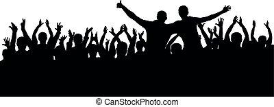 gekke , concert, applaudiseren, menigte, mensen., silhouette, juichen, vrijstaand, vrolijk, vector, achtergrond, partij.