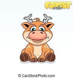 gekke , deer., schattig, vector, dier, spotprent, as