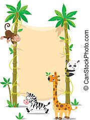 gekke , dieren, boompje, twee, palm, kleine, spandoek