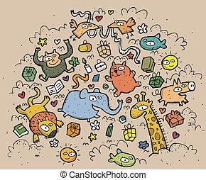 gekke, dieren, illustratie, getrokken, objects:, hand,...