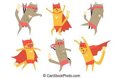 gekke , dieren, set, dog, illustratie, kat, vector, karakters, ninja, superhero