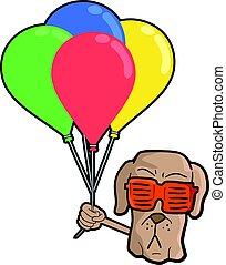 gekke , dog, gezicht, met, kleur, ballons