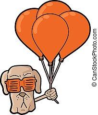 gekke , dog, gezicht, met, rood, ballons