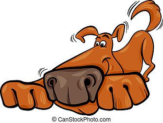 gekke , dog, illustratie, spotprent
