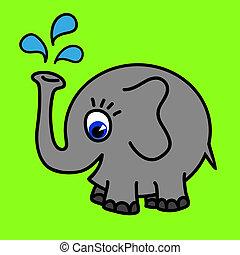 gekke , elefant, ronde, vector