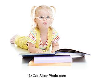 gekke , eyeglases, vrijstaand, boek, lezende , geitje
