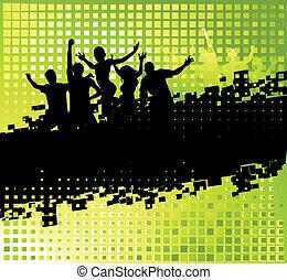 gekke , feestje, achtergrond, met, plek, voor, jouw, tekst