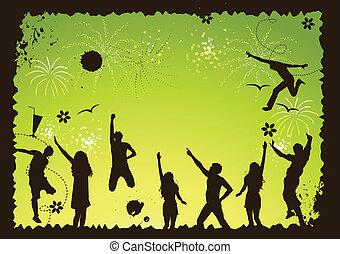gekke , feestje, vakantie, vector, illustratie, voor, jouw, ontwerp