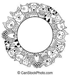 gekke , frame, kleuren, pagina, honden