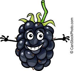 gekke , fruit, braambes, illustratie, spotprent