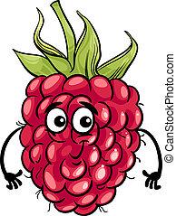 gekke , fruit, framboos, spotprent, illustratie