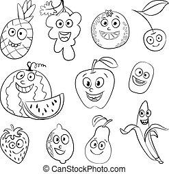 gekke , fruit., karakter, spotprent