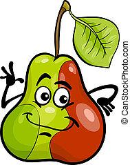 gekke , fruit, peer, spotprent, illustratie