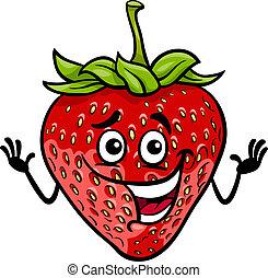 gekke , fruit, spotprent, illustratie, aardbei