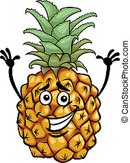 gekke , fruit, spotprent, illustratie, ananas