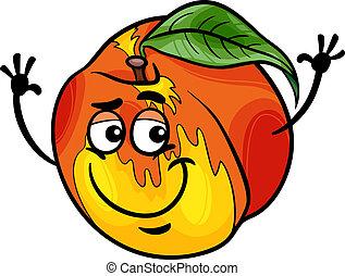 gekke , fruit, spotprent, illustratie, perzik