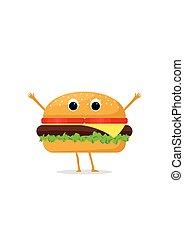 gekke , geitjes, hamburger, illustration., schattig, menu, restaurant, karakter, vrijstaand, gezicht, achtergrond., vector, menselijk, witte , het glimlachen