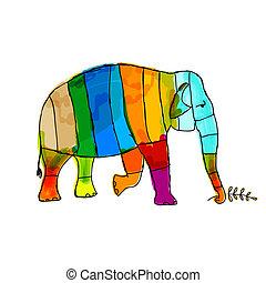 gekke , gestreepte , ontwerp, jouw, elefant